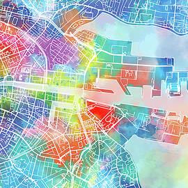 Bekim Art - dublin map watercolor