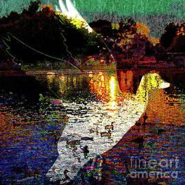 Bonnie Marie - - Duckpond at twilight.flight over lake