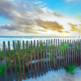 Dune Fences at the Sea Watercolors by Debra and Dave Vanderlaan