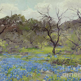 Early Spring Bluebonnets And Mesquite, 1919 by Julian Onderdonk