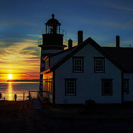 Earlybird Onlookers At West Quoddy Head Lighthouse by Marty Saccone