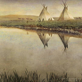 Edward Curtis variation--reflections of teepees.  by R christopher Vest