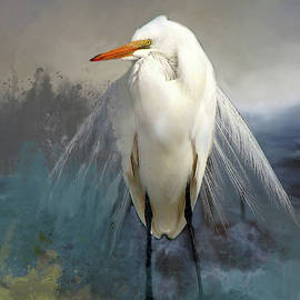 Egret In Blue by Linda Cox