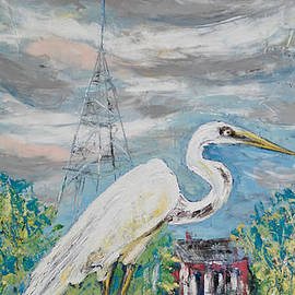 Egret Mascot of Coastal Town by Patty Donoghue