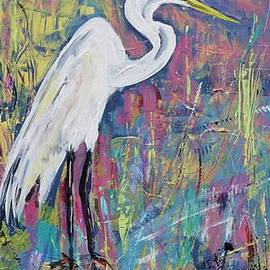 Egret on Color Filled Banks by Patty Donoghue