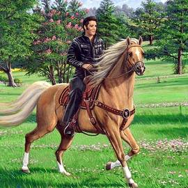 Elvis Riding A Palomino by Mike Roberts