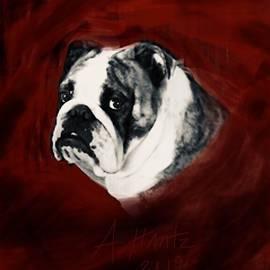 English Bulldog Gus, Sad Face 4 by Adrienne Hantz Kelley
