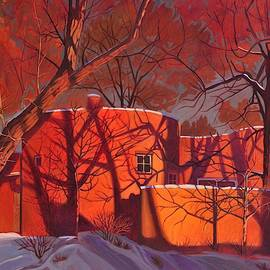 Evening Shadows On A Round Taos House by Art West