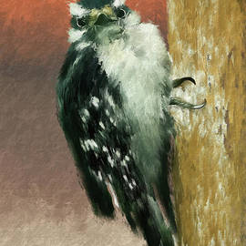 Eye Contact With A Little Downy Woodpecker by Lois Bryan