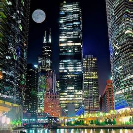 Fabulous Full Moon over the Windy City by Frozen in Time Fine Art Photography