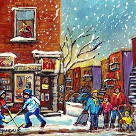 Face Off Street Hockey At The Corner Dep Snow Falling Streets Of Montreal Quebec Artist C Spandau by Carole Spandau