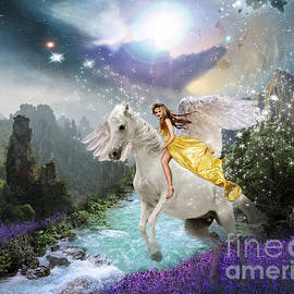 Fairytale landscape with Pegasus by Louise Lavallee