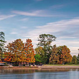 Fall Panorama Of Mcgovern Lake At Hermann Park - Houston Museum District Texas by Silvio Ligutti