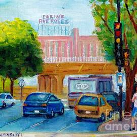 Farine Five Roses Sign Griffintown  St Henri Montreal Painting Peel Street G Vendittti Quebec Art by Grace Venditti