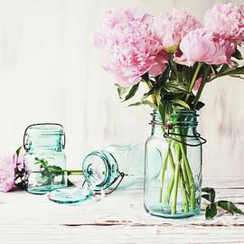 Farnhouse Pink Peonies in an Antique Mason Jar by Stephanie Frey