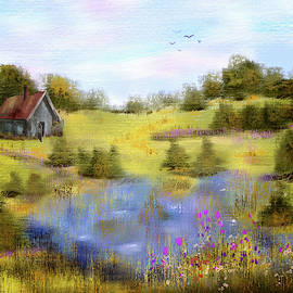 Field of Lake and Flowers by Mary Timman