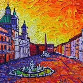 FIERY NAVONA ROME ITALY modern impressionist textural impasto knife oil painting Ana Maria Edulescu by Ana Maria Edulescu