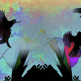 Finches with Leaves I and II Silhouette Abstract by Linda Brody