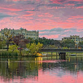 Fire in the Sky Above Our Lady of the Lake University and Elmendorf Lake - San Antonio Texas by Silvio Ligutti
