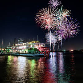 Fireworks Behind the Steamer Natchez by Chase This Light Photography