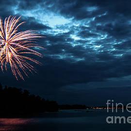 Fireworks Over Rainy Lake by Lori Dobbs