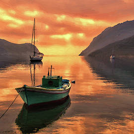 Fishing Boats At Sunset Simi Greek Islands-dwp40406001 by Dean Wittle