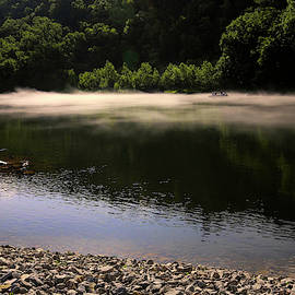 Fishing In Fog White River by Judy Vincent