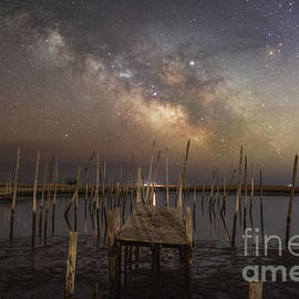 Fishing Pier Under The Milky Way  by Michael Ver Sprill