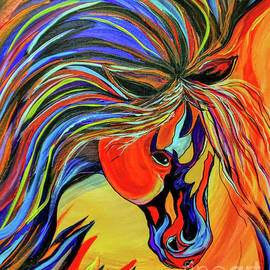 Flame Bold and Colorful War Horse by Janice Pariza