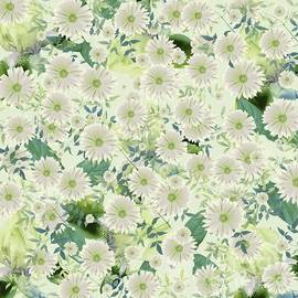 Floral Flurry Green Cream by Rachel Hannah