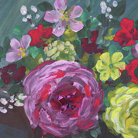 Floral Impressionism Pink And Yellow Roses by Irina Sztukowski
