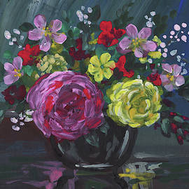 Floral Impressionistic Still Life With Roses by Irina Sztukowski