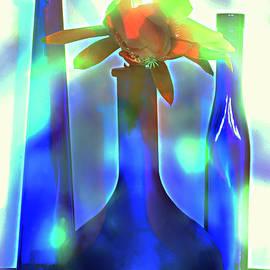 Alexander Vinogradov - Floral Still Life With Blue Bottles.