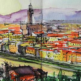 Florence Panoramic view watercolor painting Mona Edulesco by Mona Edulesco