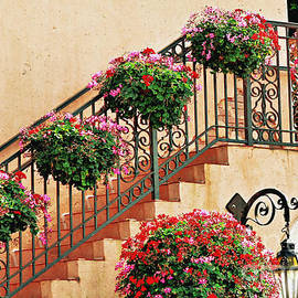 Flower Basket Wrought Iron Staircase by Diann Fisher