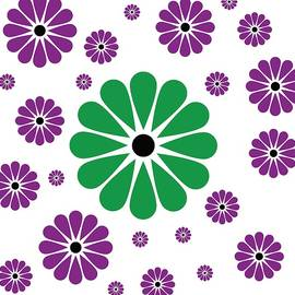 Flower Pattern Purpur and Green by Patricia Piotrak