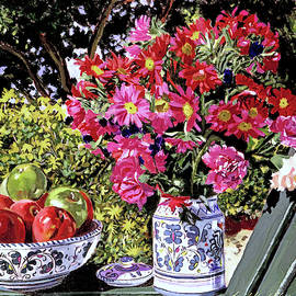 Flowers And Apples by David Lloyd Glover