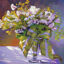 Flowers And Ribbons Still Life by David Lloyd Glover