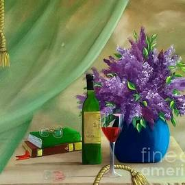 Flowers,  Books and A glass of Wine  by Danett Britt