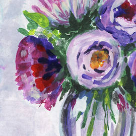 Irina Sztukowski - Flowers Bouquet Peeking Purple Floral Impressionism