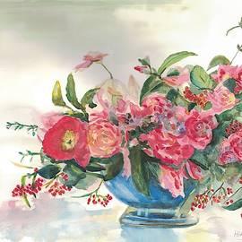 Flowers in Blue Vase by Hiroko Stumpf