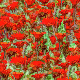 Flowers On Fire Abstract by Marcy Wielfaert