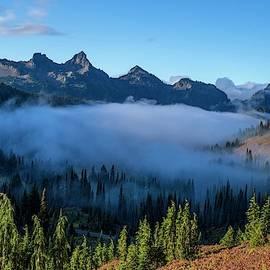 Fog in the Tatoosh mountain range 2 by Lynn Hopwood