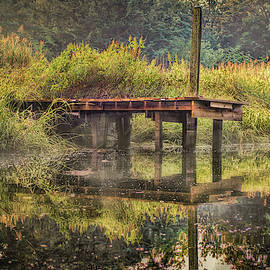 Old Dock With Fog At Blind Brook by Cordia Murphy