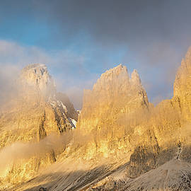 Foggy mountain landscape of the  Dolomiti at Passo Sella area in by Michalakis Ppalis