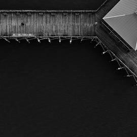 Folly Beach Pier Black And White Aerial by Donnie Whitaker