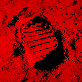 Foot Print On The Moon In Red by Rob Hans