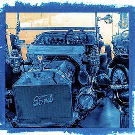Ford Early 1900s Vintage Classic Car Grungy Blue by Joan Stratton