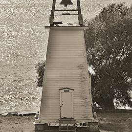 Fort Washington Park Lighthouse Black And White by Lisa Wooten