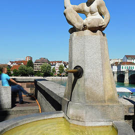 Fountain of Little Boy Holding Fish - Basel Switzerland by Emmy Marie Vickers